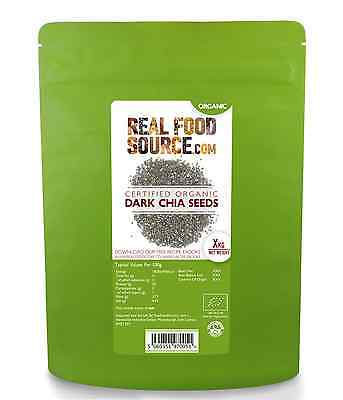 REALFOODSOURCE CERTIFIED ORGANIC CHIA SEED 1KG £5.75 with FREE CHIA Recipe Ebook