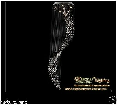 Crystal Ceiling Lamp Chandelier hang hall Fixture Curtain Pendant led Light M7