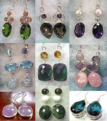 "Silver Wrapped Gemstone Earrings most stamped 925 silver 1.25 ""- 2.75"" US Seller"