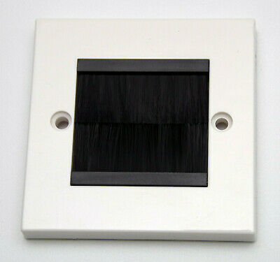 White Brush Stripe Cable Entry Single Gang Wall Face Plate with Black Brushes