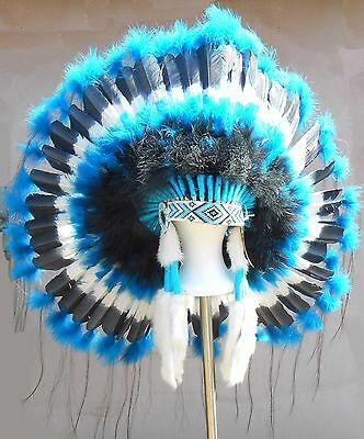 "Genuine Native American Navajo Indian Headdress 36"" TURQUOISE TRAIL Blue & Black"