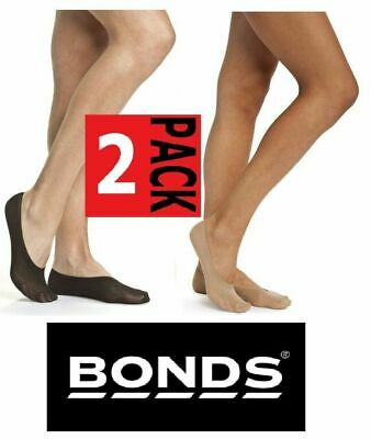 Womens Bonds 2 Pack No Show Cotton Black Tan Footlets Ladies Socks Sockettes
