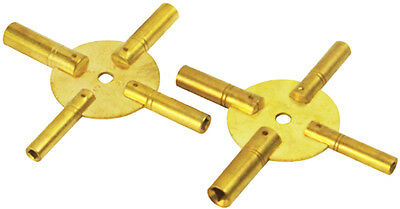 New 2Pc Brass Universial Clock Key for Winding Clocks 4 Prong EVEN & ODD Numbers