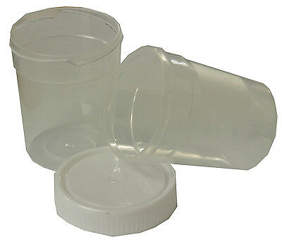 125ML Plastic Urine Collection Sample Cups/Containers/Bottles + Screw Lids