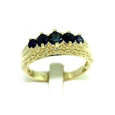 5 Blue Sapphire 9ct Solid Gold Antique Style Ring, Sz N/7.0, 30 Day Returns