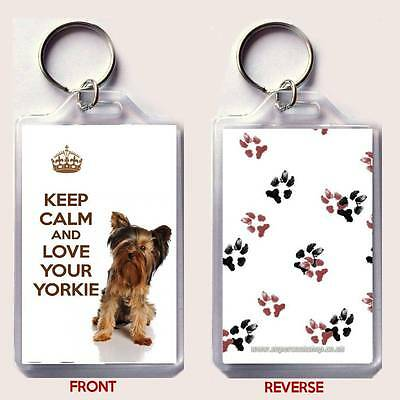 KEEP CALM and LOVE YOUR YORKIE with a Yorkshire Terrier Image KEY RING Gift