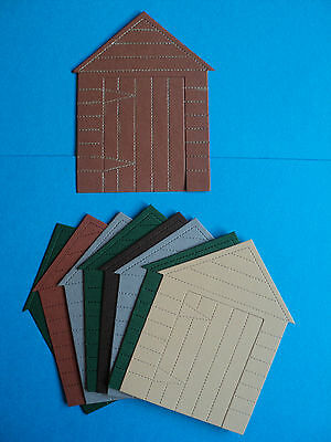 8 Garden Sheds die cut shapes for toppers mixed colours