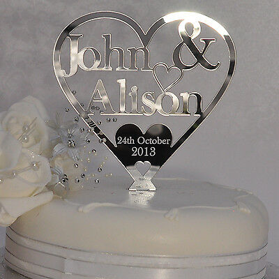 Personalised Bride and Groom - Heart Wedding Cake Topper - Silver Mirror Acrylic