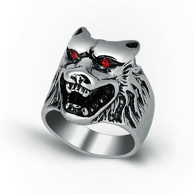 Wholesale Lot 6Pcs Stainless Steel Mens Gothic Wolf Head Rings Fashion Jewelry
