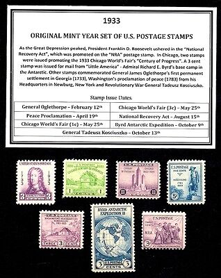 1933 Year Set Of Mint -Mnh- Vintage U.s. Postage Stamps