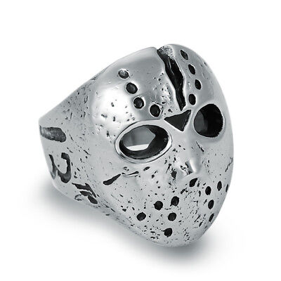 Wholesale Lot 5Pcs Stainless Steel Friday 13th Jason Mask Rings Men's Jewelry
