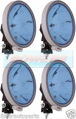 """4 x 12V/24V 9"""" ROUND BLUE SPOT/DRIVING LAMPS/LIGHTS TRUCK/LORRY/4X4/OFF ROAD"""