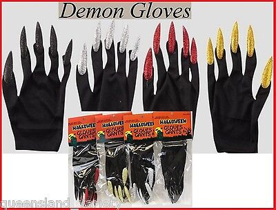 DEMON Devil WITCH GLOVES Long Glitter NAILS Halloween Fancy Dress Costume Party