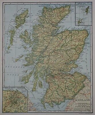 Original 1921 Map SCOTLAND Railroads Edinburgh Orkney Shetland Islands Inverness