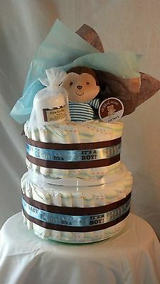 Diaper Cake with Shea Butter, It's A Boy w/Baby Food Organizer and Monkey