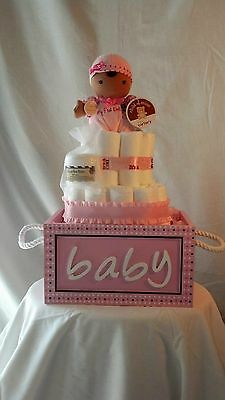 Diaper Cake Pink in Baby Box w/ Shea Butter & African American/Brown Skin Doll