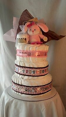 Diaper Cake 3 Tier Pink with Shea Butter & Pink Bunny