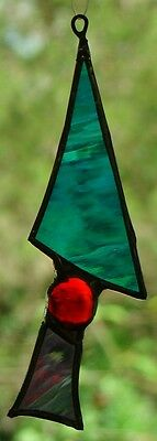 TURQUOISE BLUE, RED & PURPLE ABSTRACT CHRISTMAS TREE SUNCATCHER DECORE Hand Made