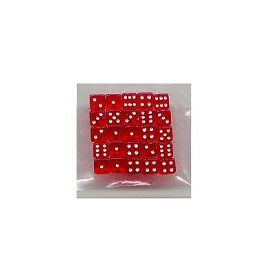 NEW Dice Set of 25 D6 (5mm) - Translucent Red