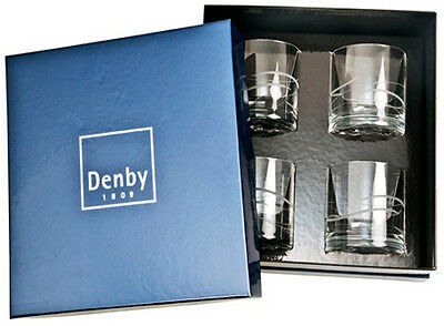 DENBY CRYSTAL 'WAVE' 4 x TUMBLERS - BRAND NEW GIFT BOXED SET