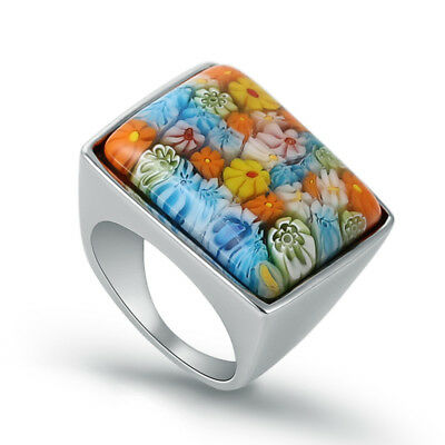 Fashion Stainless Steel Silver Women Flower Stone Beautiful Ring US Size 6 7 8 9