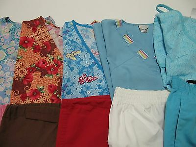 Womans Lot Of Scrub Sets, 5 Tops, 5 Pants, Very Nice    Size S  (Box80)