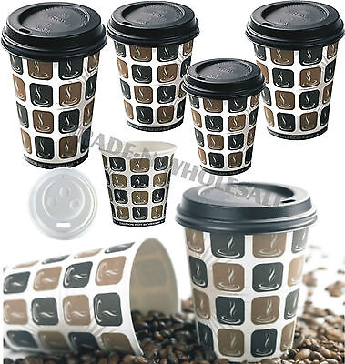 MOCHA HOT DRINKS PAPER CUPS, 50, 100 or 500 COFFEE CATERING DISPOSABLE SIP LIDS