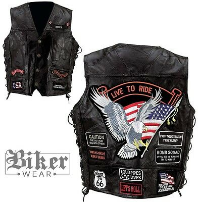GILET CUIR BIKER MOTO NEUF  Live to Ride