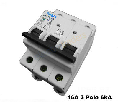 Circuit Breaker 16 Amp Three Pole 6kA Rating Regis
