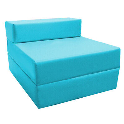 Turquoise Fold Out Z Bed Futon Kids Sleepover Guest Chair Sofabed Mattress