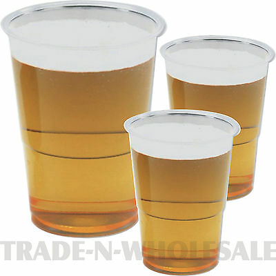 Clear Strong Plastic Pint Half Pint Tumblers Disposable Party Beer Glasses Cups