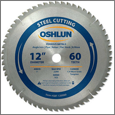 "OSHLUN SBF-120060 12"" x 60T Steel Cutting Saw Blade"