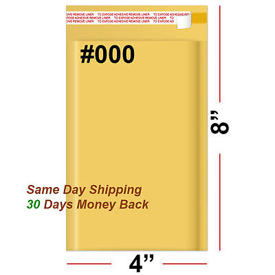 """400 #000 4x8 KRAFT BUBBLE PADDED MAILERS SHIPPING SELF SEAL ENVELOPES 4"""" x 8"""""""