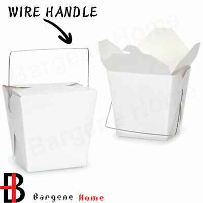 Bulk Packs 100  x 235ML/8oz White Noodle Box Pail With Metal Wire Handle