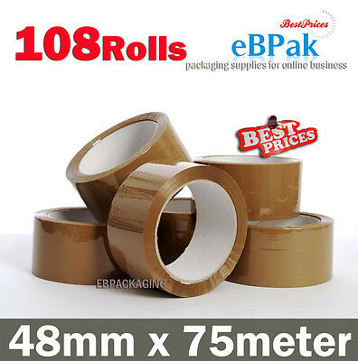108 Roll - Brown Tape Packing Packaging Sticky Tape 75 Meter x 48mm - 45 Micron