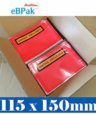 Invoice Enclosed Pouch - 115 X150MM Red Clear Document Sticker Envelope x1000