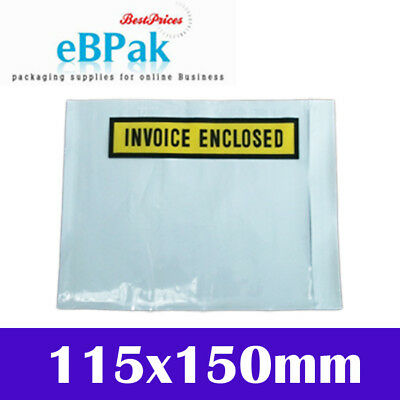 1000 - Invoice Enclosed - White Clear Printed Document Pouch Sticker 115x150mm