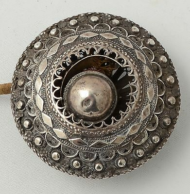 Antique Silver Servants Button  Silver Filigree c1900 Middle Eastern