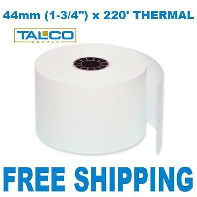"""44mm (1-3/4"""") x 220' THERMAL CASH REGISTER PAPER - 50 NEW ROLLS  *FREE SHIPPING*"""