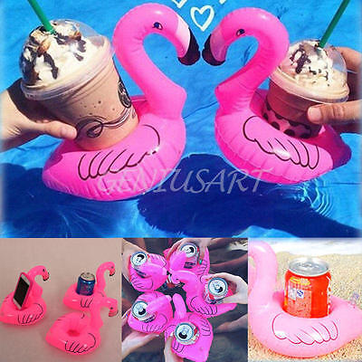 Flamingo Inflatable Can Holder Toy Coaster Luau Tropical Party Favors Pink New