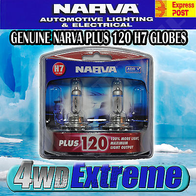 Narva H7 +120%  Halogen Light Bulbs Headlight Globes 48366Bl2 New 12V Plus 120