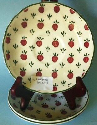 Royal Staffordshire Bordeaux Country French J & G Meakin 3 Saucers Only Crazing