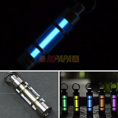 Titanium Keychain self illuminating GLOW BLUE LIGHT 25 yrs Tritium Marker SAFE