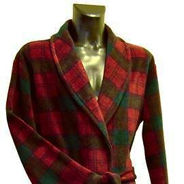 Men's Fleece Dressing Gown - Wine, Blue and Green Check