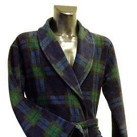 Men's Fleece Dressing Gown - Navy, Green and Blue Check