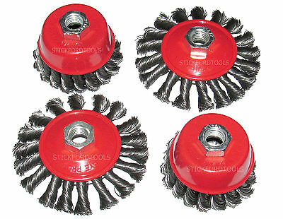 4 x ROUND TWIST KNOT SEMI FLAT WIRE WHEEL CUP BRUSH SET FOR 115mm ANGLE GRINDER