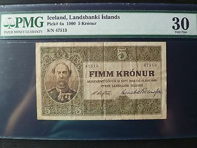 Iceland Landsbanki Islands Lot P-4a 1885 1900 5 Kronur PMG VF 30 Add Collection