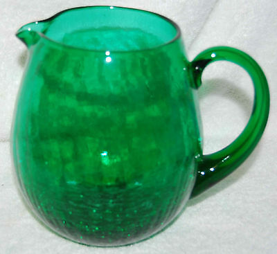 BLENKO VINTAGE CRACKLE GLASS PITCHER