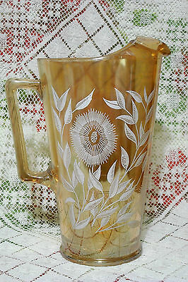 Jeannette Glass Cosmos Marigold Pitcher  Carnival Glass  Exc