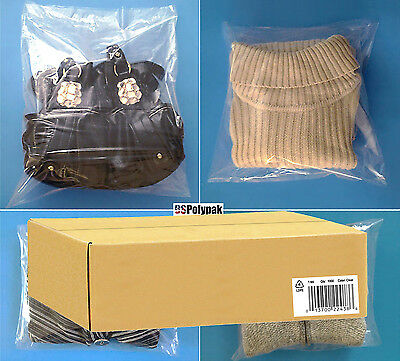 """100 200 300 500 1000 12x15"""" Clear 1-Mil Poly Bags Open Top Plastic Shirt Baggies"""